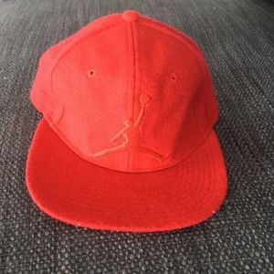 Red Air Jordan Fuzzy Snapback Hat Youth